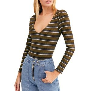 Free People Right On Time Striped Long Sleeve Top